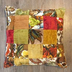 VTG 70s Velvet Patchwork Floral Throw Pillow Decor